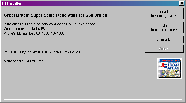 Installer showing free space